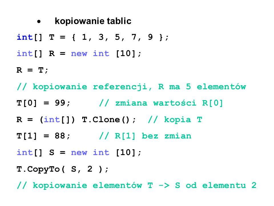 · kopiowanie tablic int[] T = { 1, 3, 5, 7, 9 }; int[] R = new int [10]; R = T; // kopiowanie referencji, R ma 5 elementów.